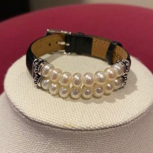 HONORA Pearl/Silver/Black Leather Bracelet